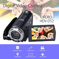 """Ordro V12 3.0"""" 1080P Digital Camera Camcorder Microphone 12M 2x Battery Local"""