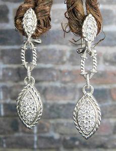 Judith Ripka 925 Sterling Silver Diamonique Clear CZ Dangle Earrings