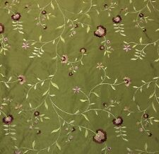 """FAUX SILK BORIS SPRING GREEN EMBROIDERED FLORAL DESIGNER FABRIC BY THE YARD 56""""W"""