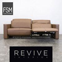 FSM Moto Leder Sofa Haselnuss Braun Dreisitzer Couch Elektrisch Relaxfunktion...