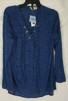 Chenault Women's Size Large Blue Long Sleeve Top Shirt New with Tags