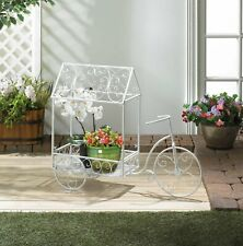 large white metal shabby bicycle flower cart Shelf Plant pot planter Stand