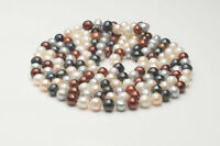 """Fashion 7-8mm freshwater cultured round multicolor pearl necklace bracelet 30"""""""