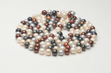 Fashion 7-8mm freshwater cultured round multicolor pearl necklace bracelet 30""