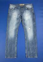 Alcott jeans uomo usato W40 tg 54 strappati blu denim destroyed boyfriend T5958
