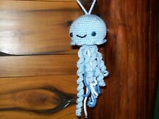 New crochet stuffed blue baby jellyfish animal handmade nursery