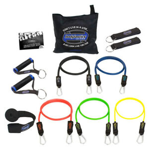 Bodylastics 12 Piece Exercise Equipment Set w/ Weight Resistance Bands & Anchors