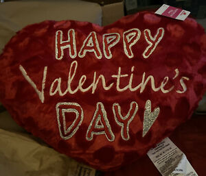 "Happy Valentine's Day Large Plush Heart Pillow  20"" Glitter Silver  Words ❤️"
