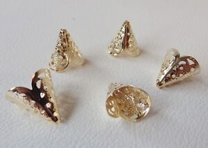 BNCBC01 RGP: 20 x Pale Rose Gold Plated Filigree Cone Bead End Caps
