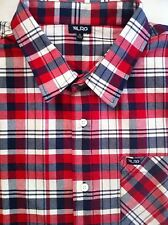 Men's LRG L-R-G Red White Blue Plaid S/S Shirt XL X-Large NWT $49 New COOL