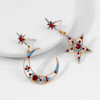 1 Pair Women Crystal Drop Star Moon Rhinestone Asymmetric Earrings Dangle Drop