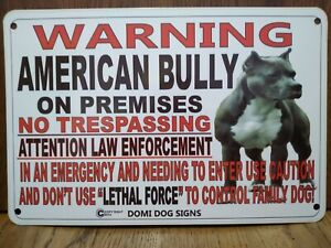 "Metal Warning American Bully Dog sign For FENCE ,Beware Of Dog 8""x12"""