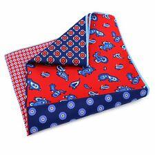Red & Blue 4 Quarter Paisley Large 33cm Pocket Square