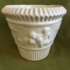 "Vintage Roseville Pottery White ""Donatello"" Flower Pot / Planter Clean, EXC."