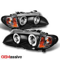 For 02-05 BMW E46 3-Series 4Dr Black Halo LED Projector Headlights +Build/Corner