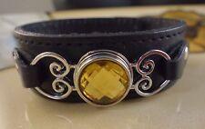 TOPAZ November birthstone snap button black genuine leather bracelet gifts women