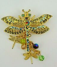 "NOS Kirks Folly ""Extravagant Dragonfly"" Crystal Pin / Brooch - Gold Tone - RARE"