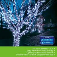 Outdoor Indoor 72ft 200 LED Cool White Solar String Christmas Fairy Lights