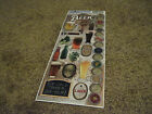 """Scrapbooking Stickers Paper House Cardstock 13"""" Flat Beer Caps Glasses Cold Ale"""