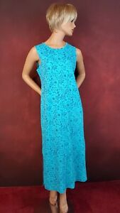 Expressions Sleeveless Maxi Dress M Turquoise Floral Beach Casual