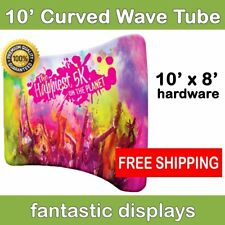 10ft Curved Tube Wavy Pop Up Graphic Display Hardware - Trade Show Backdrop