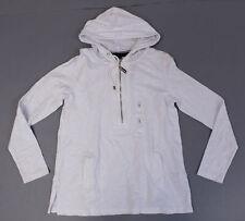 Tommy Hilfiger Women's Half Zip Long Sleeve Pocket Hoodie SC4 White Small NWT