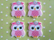 4 x Cute Pink Owl Flatback Planar Resin, Embellishment, Hair bow, Crafts *UK*
