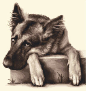 GERMAN SHEPHERD, ALSATIAN dog - Full counted cross stitch kit *Jann Designs
