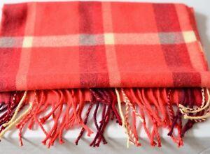 100% Cashmere Scarf Muffler made in Scotland Plaid Orange Red  White