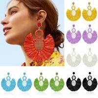 Womens Fashion Bohemian Geometric Earrings Long Tassel Fringe Dangle Ear Stud