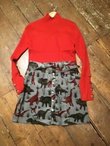 Run &Fly cute cord button through 60's style aline skirt in grey with dinosaurs