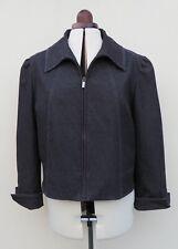 Per Una grey denim look zip front collared jacket,size 18