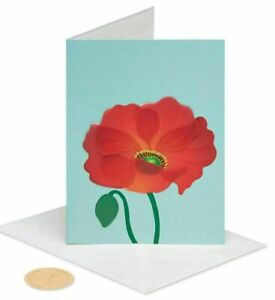 Papyrus Blank Card - 3D Red Poppy Flower with Glitter Center