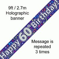 Happy 60th Birthday Streamers Holographic 9ft Banner