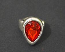 Anillo de Zamak-crystal corazón rojo-baño de plata-hecha en Europa-alta calidad