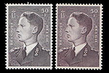 BELGIUM 1952 50fr GRAY BROWN AND 50fr VIOLET BROWN SHADES MNH #449 449a $110.00