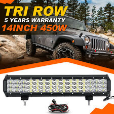 "Tri Row 7D 14""inch 450W CREE LED Work Light Bar Spot Flood Offroad Jeep 4x4WD"