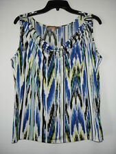 Ellen Tracy New Multicolor Striped Drape Scoop Neck Sleeveless Top L