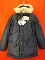 NWT PAJAR CANADA NAVY NYLON COYOTE FUR HOODIE EAGLE GOOSE DOWN JACKET L