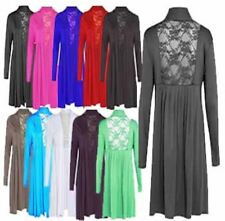 New Womensback Lace Plus Size Cardigan Laides Long Sleeve Stretch Pleat Top12-26
