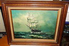 NORMAN WALKER SAILING SHIP ORIGINAL OIL ON CANVAS SEASCAPE PAINTING