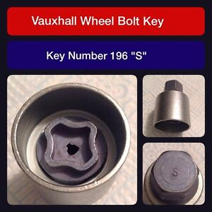 "Genuine Vauxhall Locking Wheel Bolt / Nut Key 196 ""S"""