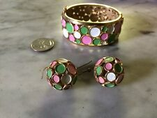 vintage '1960 TRIFARI enamel cuff bracelet and dangle earrings set