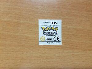 Nintendo DS Pokemon White Replacement Label Decal Sticker Nintendo Cartridge