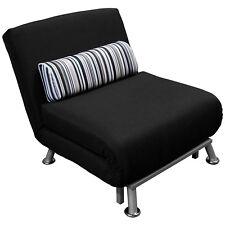 Divano poltrona letto reclinabile in ferro e cotone tessuto con cuscino a righe