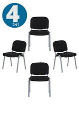 Conference Chair Visitor Chair Pack of 4 pcs Stackable black XT 600 hjh OFFICE