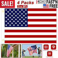3x5 Ft American Flag U.S.A United States Uv Fade Resistant Brass Grommet- 4 Pack