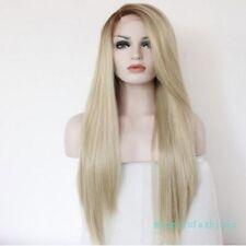 Amazing! Stylish Blonde Front Lace Wig Beautiful Long Straight Wig Hair