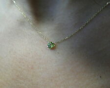 PERIDOT SOLITAIRE NECKLACE 14K YELLOW GOLD 0.25CT 4MM  4 PRONG SETTING