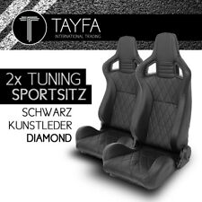 2x Autosportsitz Sportsitz Racingseat Kunstleder schwarz Schalensitz DIAMOND NEW